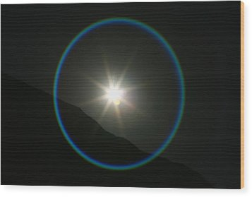 Wood Print featuring the photograph Annular Solar Eclipse - Blue Ring At Vasquez Rocks by Lon Casler Bixby