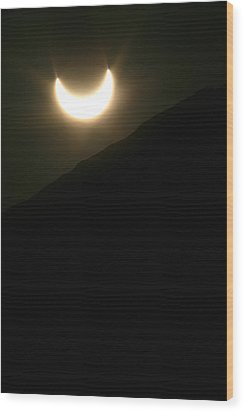 Wood Print featuring the photograph Annular Solar Eclipse At Sunset Number 1 by Lon Casler Bixby
