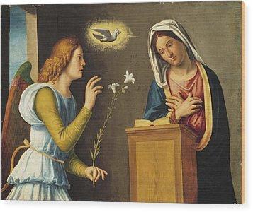 Annunciation To The Virgin Wood Print by Giovanni Battista Cima da Conegliano