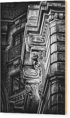 Ansonia Building Detail 1 Wood Print by Val Black Russian Tourchin