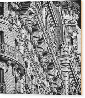 Ansonia Building Detail 10 Wood Print by Val Black Russian Tourchin