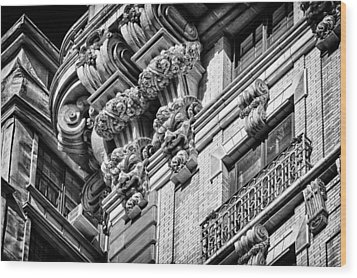 Ansonia Building Detail 45 Wood Print by Val Black Russian Tourchin
