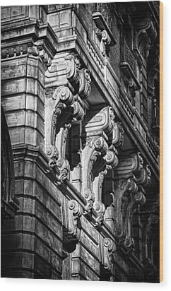 Ansonia Building Detail 9 Wood Print by Val Black Russian Tourchin