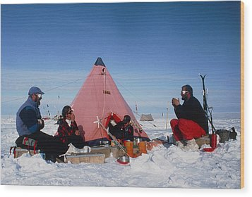 Antarctic Research Team Relaxing Outside Tent Wood Print by David Vaughan