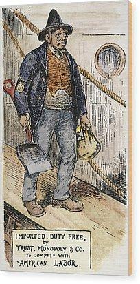 Anti-immigrant Cartoon Wood Print by Granger