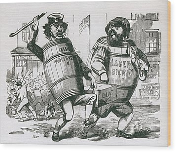 Anti-immigrant Cartoon Showing Two Men Wood Print by Everett