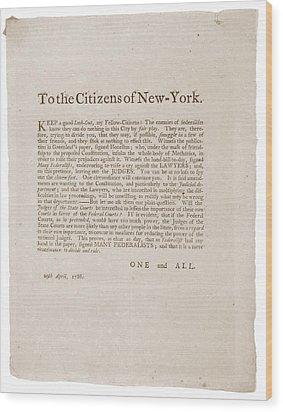 Anti-republican Broadside Of April 29 Wood Print by Everett