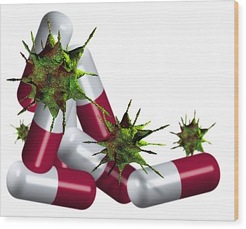 Antibiotic Pills And Microbes, Artwork Wood Print by Victor Habbick Visions