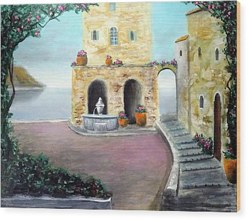 Antica Villa Sul Mare Wood Print by Larry Cirigliano