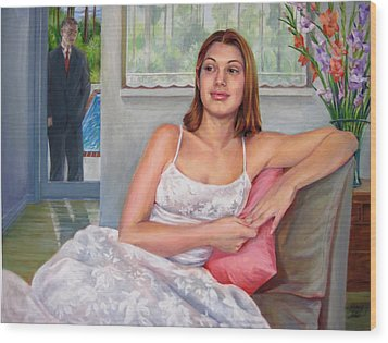 Wood Print featuring the painting Anticipation - Jasmin Contemplates The Prom by Nancy Tilles