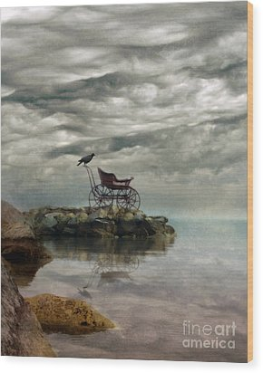 Antique Baby Buggy By The Sea Wood Print by Jill Battaglia