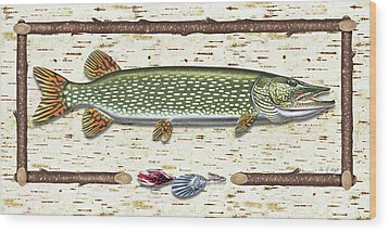Antique Birch Pike And Lure Wood Print by JQ Licensing