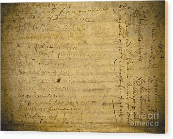 Antique Document Wood Print by Dave & Les Jacobs