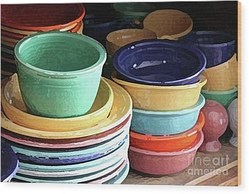 Antique Fiesta Dishes I Wood Print by Marilyn West