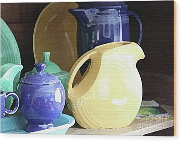 Antique Fiesta Dishes II Wood Print by Marilyn West