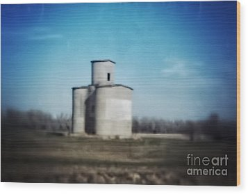 Antique Grain Elevator Wood Print by Jeremy Linot