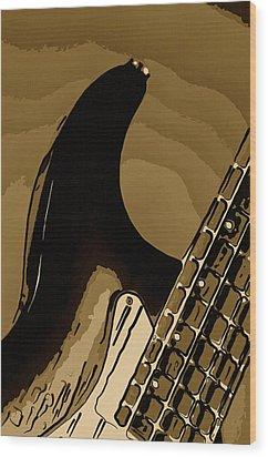 Antique Guitar Wood Print by M K  Miller