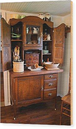 Antique Hoosier Cabinet Wood Print by Carmen Del Valle