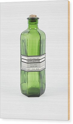 Antique Laudanum Bottle Wood Print by Gregory Davies, Medinet Photographics