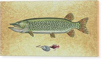 Antique Lure And Pike Wood Print by JQ Licensing