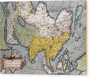 Antique Map Of Asia Wood Print by Claes Jansz