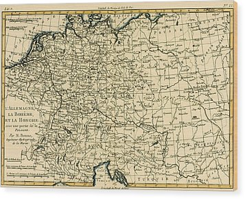 Antique Map Of Germany Bohemia And Hungary With Part Of Poland Wood Print by Guillaume Raynal