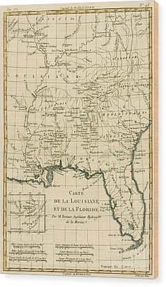 Antique Map Of Louisiana And Florida Wood Print by Guillaume Raynal