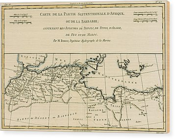 Antique Map Of North Africa Wood Print by Guillaume Raynal