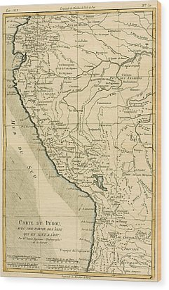Antique Map Of Peru Wood Print by Guillaume Raynal