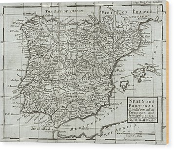 Antique Map Of Spain And Portugal Wood Print by Hermann Moll