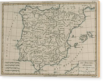 Antique Map Of Spain Wood Print by Guillaume Raynal