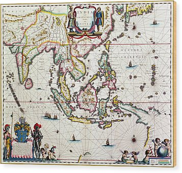 Antique Map Showing Southeast Asia And The East Indies Wood Print by Willem Blaeu