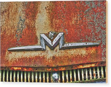 Antique Mercury Auto Logo Wood Print by Dan Stone