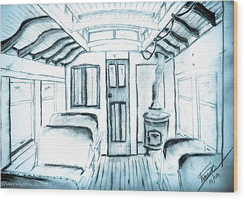 Wood Print featuring the drawing Antique Passenger Car by Shannon Harrington
