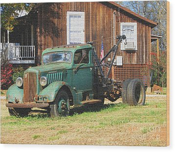 Antique Tow Truck Textured Wood Print by Barbara Bowen