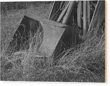 Antique Tractor Bucket In Black And White Wood Print by Jennifer Ancker