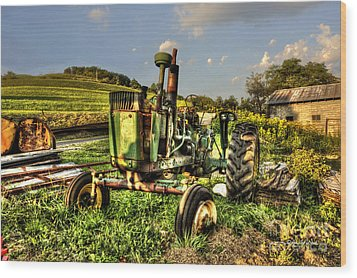 Antique Tractor Wood Print by Dan Friend
