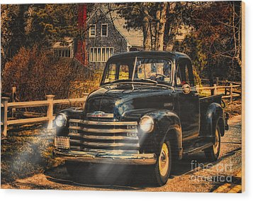Antique Truckin Wood Print by Gina Cormier