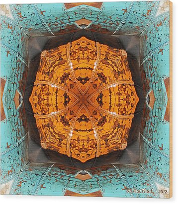 Wood Print featuring the photograph Antique Wood Baskets Kaleidoscope by Barbara MacPhail