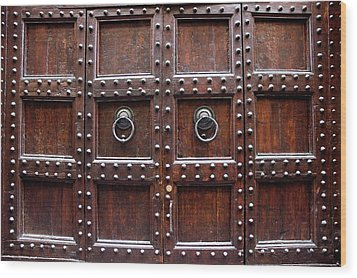 Antique Wood Door In Florence Wood Print by Giuseppe Ceschi