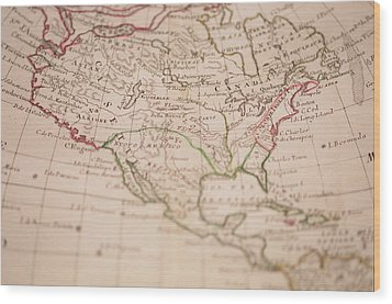 Antique World Map Wood Print by Ron Chapple