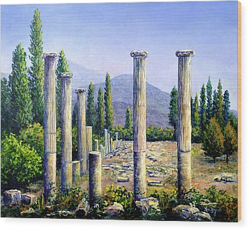 Wood Print featuring the painting Aphrodesias Ruins by Lou Ann Bagnall