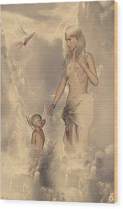 Aphrodite And Eros Wood Print by Lourry Legarde