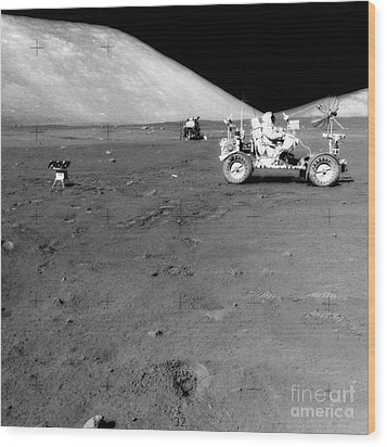 Apollo 17 Image Of Land Rover On Moon Wood Print by Stocktrek Images