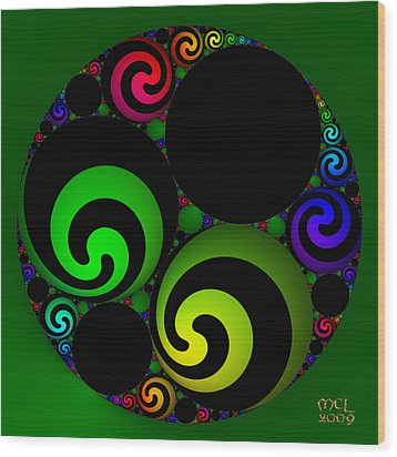 Wood Print featuring the digital art Apollonian Gasket Variant Iv  by Manny Lorenzo