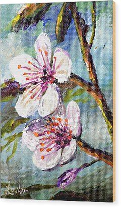Wood Print featuring the painting Apple Blossoms by Lou Ann Bagnall