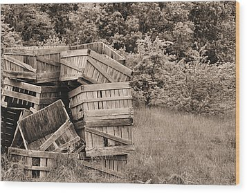 Apple Crates Sepia Wood Print by JC Findley
