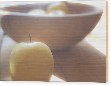 Apple In Waiting Wood Print by Toni Hopper