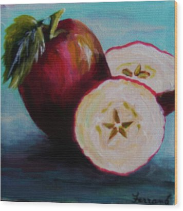 Wood Print featuring the painting Apple Magic by Karen  Ferrand Carroll