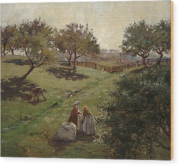 Apple Orchard Wood Print by Luther  Emerson van Gorder